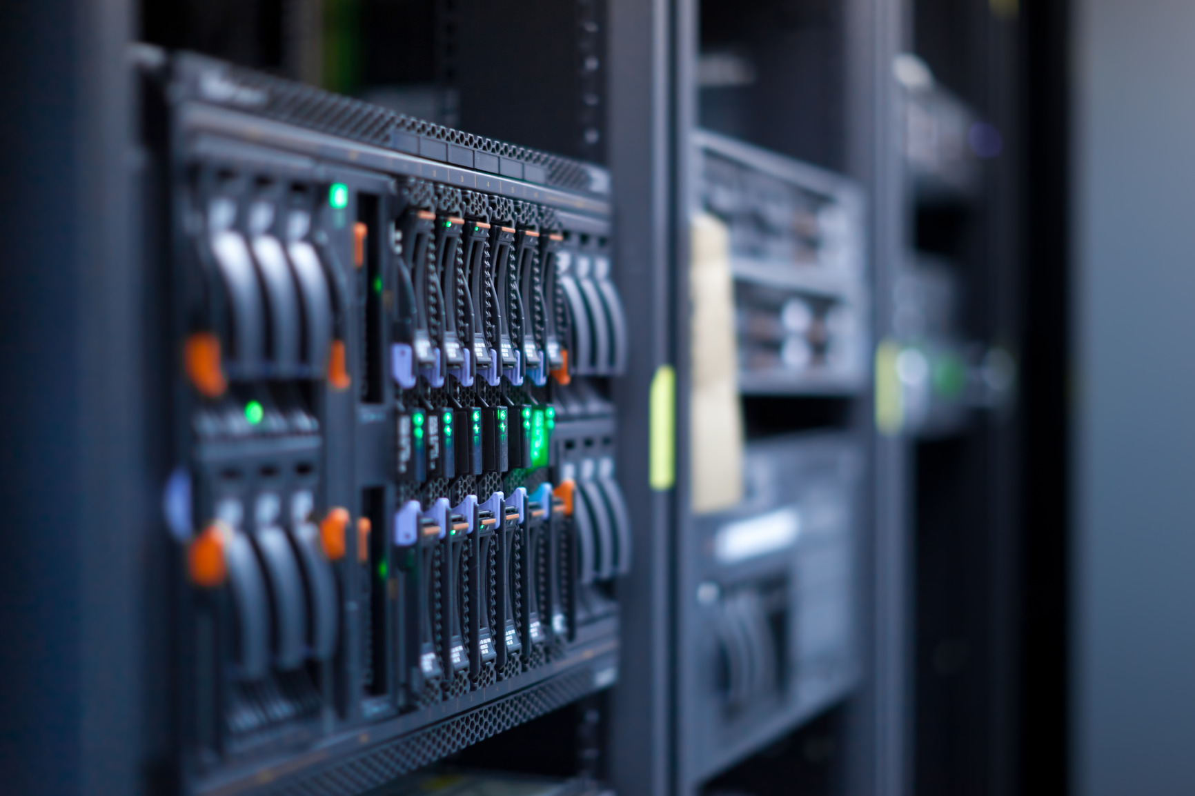 Network servers in a data center. Swallow depth of Field